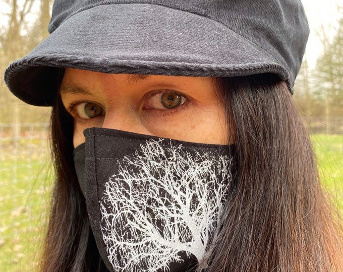 Fabric Mask Black with Willow Tree
