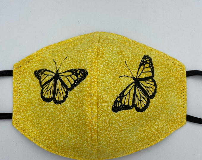 Fabric Mask Yellow Butterfly Reverses to Black