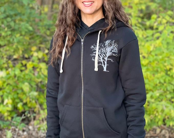 Tree Hoodie Black Fleece Unisex