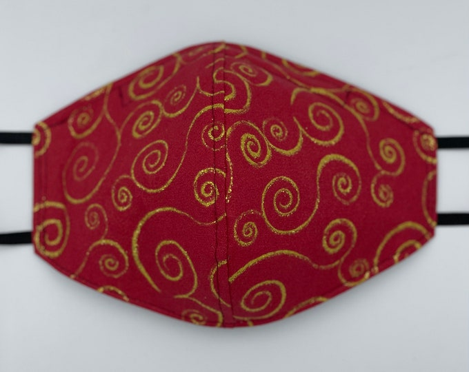 Fabric Mask Red With Gold Swirls Reversible to Black