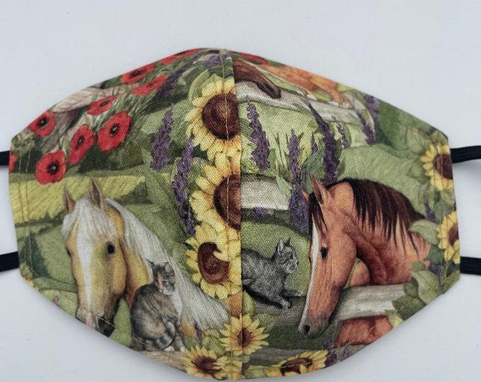 Fabric Mask Horses & Sunflowers Reversible to Black