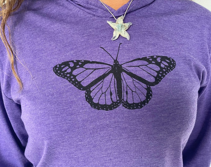 Purple Butterfly Pullover Hoodie Unisex
