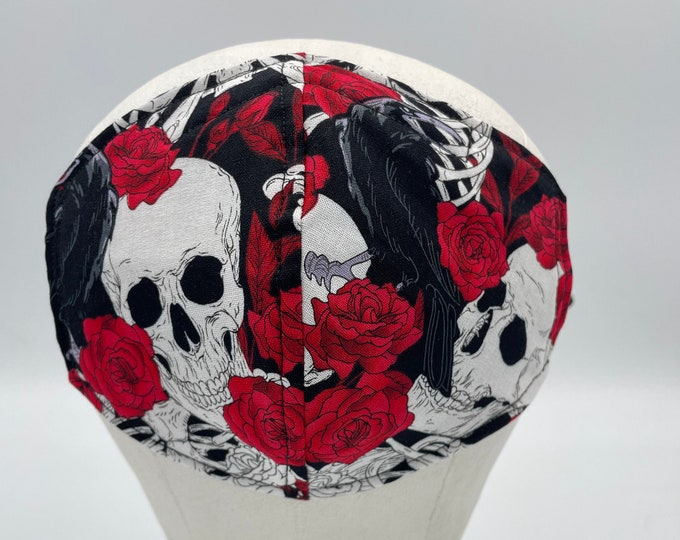 Fabric Mask Roses Skull & Crow