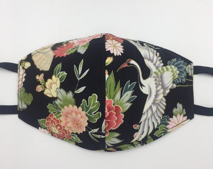 Fabric Mask Flowers & Crane Reverses to Solid Black