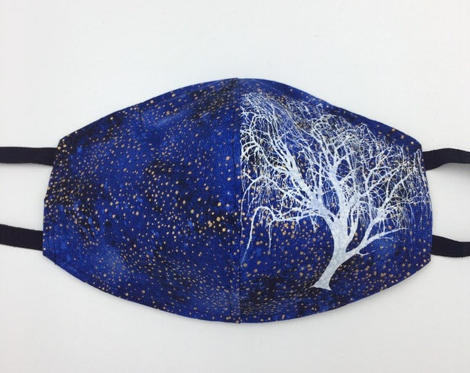 Fabric Mask Cosmic Blue with Willow Tree Reverses to Black