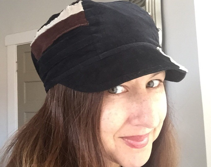 Patchwork Fray Reversible Hat Black