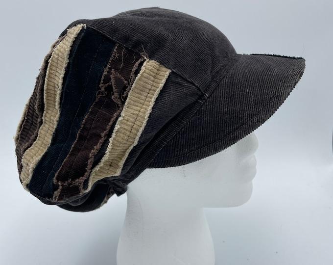 Patchwork Corduroy Fray Newsboy Hat Brown