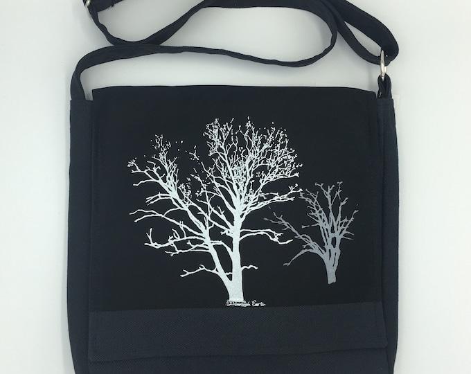 Tree Messenger Bag Black Sycamore & Walnut Print 12 x 12