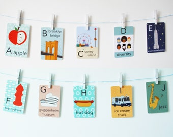 NYC Alphabet Card Set, Nursery Wall Cards, New York City Alphabet Flash Cards, Alphabet Fine Art Prints, ABC Cards