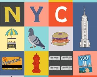 My NYC Print, Fine Art Print by Kate Durkin, Nursery Alphabet Art