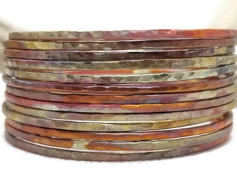 Stacking Ultra Slim Hammered Copper Bangles, Flame Painted Copper, set of bangles, wire bangles, delicate copper bangles, graduation gift