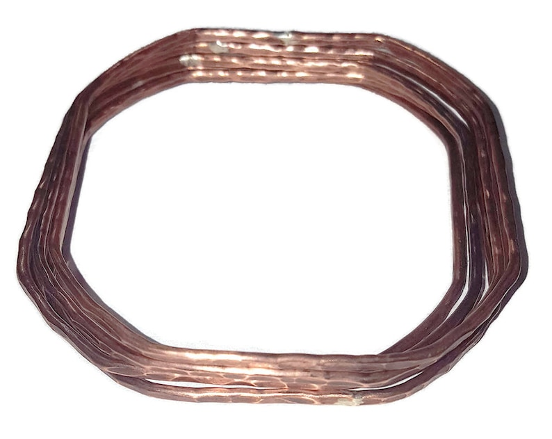 Stacking Geometric Hammered Copper Bangles Soft Square