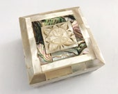 Vintage Shell Mother of Pearl MOP Hinged Jewelry Trinket Box