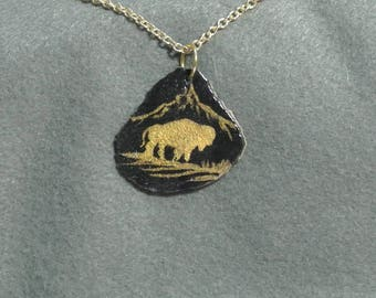 Buffalo Antler Necklace Gold/Black-Hand Painted