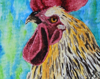 Multi-Colored Rooster Watercolor Print Card-1 card blank inside, hand painted