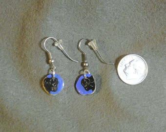 Antler Buffalo Head Blue Earrings-Handmade, Hand Painted
