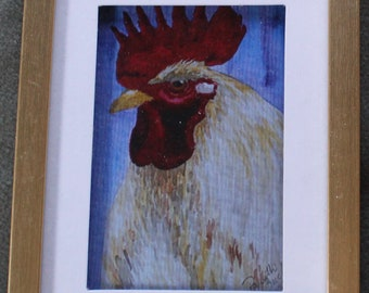 Blond Rooster Matted Framed Print