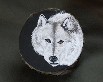 Eyes in the Night Wolf Drum-Handmade, Recycled, Hand Painted, Native Inspired, Free Shipping