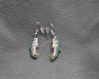 Rainbow Trout Bone Earrings-Handmade, Sculpted, Recycled, Hand Painted