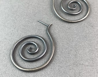 Super Spiral stud earrings sterling silver oxidized finish
