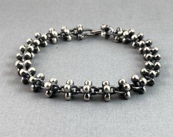 Handmade 4 sphere link bracelet oxidized finish sterling silver