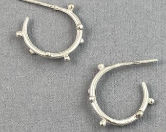 small polka dot sterling silver hoop earrings