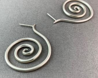 Super Spiral stud earrings sterling silver