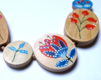 Hand painted scandinavian style natural wood statement necklace - red, sky blue white limited edition