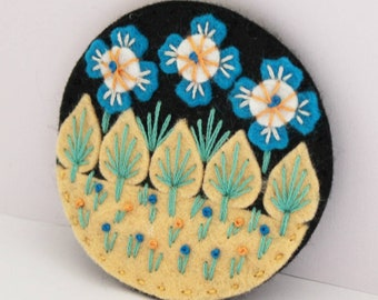 Wonderland felt brooch, hand embroidered pin, sustainable jewellery, eco friendly fashion, unique jewellery, birthday gift, folk pin