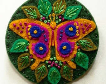 Butterfly felt brooch statement pin - hand embroidery - scandinavian style - unique - limited edition - gold fuschia green nature