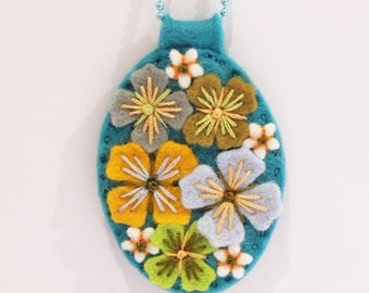 Days Of Summer Unique felt pendant necklace with hand embroidery on co-ordinating ball chain