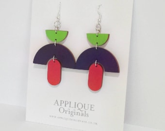 Hand painted Frida statement earrings - birthday gift - summer finds - eco fashion - sustainable jewellery - sustainable fashion