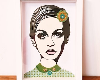 Original paper and textile collage including hand embroidery, Twiggy, 60s art, textile picture