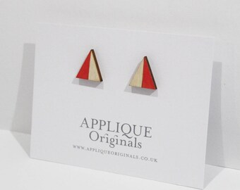 Hand painted wooden triangle  earrings - birthday gift - winter finds - eco fashion - sustainable jewellery - sustainability Christmas gift