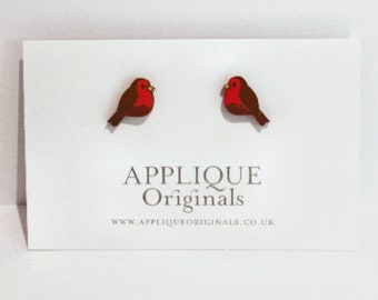 Hand painted wooden Robin bird earrings - birthday gift - winter finds - eco fashion - sustainable jewellery - sustainable fashion Christmas