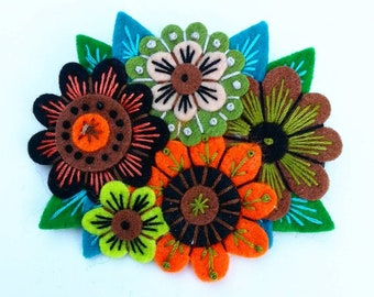 BROOCH - VINTAGE Bouquet felt brooch pin with freeform embroidery - scandinavian style - flowers - orange black sage limited edition