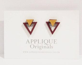 Hand painted deco tri  stud earrings, sustainable earrings, simple studs, sustainable jewellery, sustainable fashion, small earrings