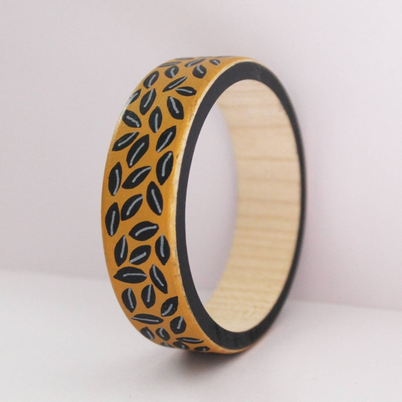 wood bracelet limited edition bangle summer finds hand painted in acrylics birthday Sustainable wood bangle statement jewellery