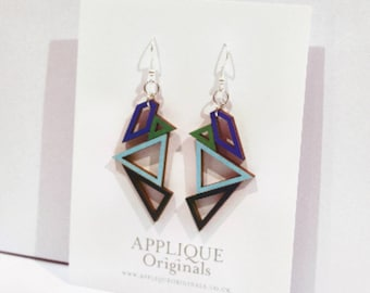 Hand painted polygon statement earrings - birthday gift - summer finds - eco fashion - sustainable jewellery - sustainable fashion