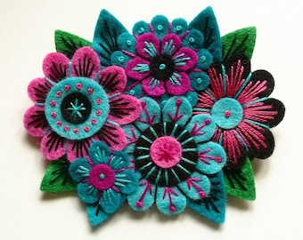 BROOCH - VINTAGE Bouquet felt brooch pin with freeform embroidery - scandinavian style - flowers - fuschia black turquoise limited edition