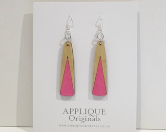 Hand painted peak wooden statement earrings - birthday gift - winter finds - eco fashion - sustainable jewellery - sustainable fashion