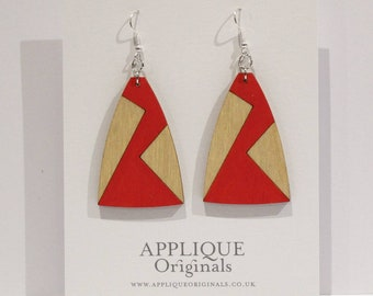 Hand painted wooden statement Bowie inspired earrings - birthday gift - eco fashion - sustainable jewellery - sustainable fashion