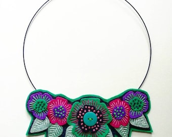 Hand embroidered textile FELT BIB STATEMENT necklace unique limited edition jewellery scandinavian style flowers and leaves