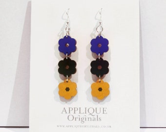 Hand painted triflower statement earrings - birthday gift - summer finds - eco fashion - sustainable jewellery - sustainable fashion