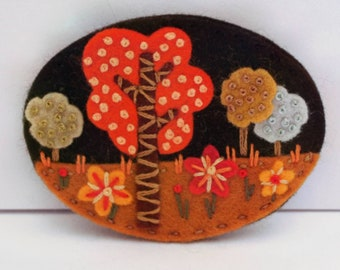 Copse felt brooch, hand embroidered pin, sustainable jewellery, eco friendly fashion, unique jewellery, birthday gift, folk pin