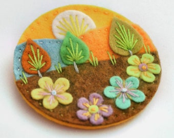 Treescape felt brooch, hand embroidered pin, sustainable jewellery, eco friendly fashion, unique jewellery, birthday gift