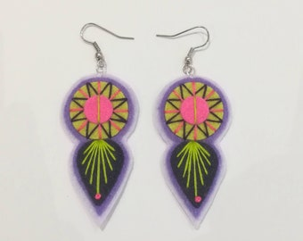 INDIE EARRINGS - Felt and hand embroidered textile earrings limited edition statement jewellery / jewelry pink lilac navy summer