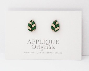 Hand painted wooden leaf earrings - birthday gift - winter finds - eco fashion - sustainable jewellery - sustainable fashion Christmas gift