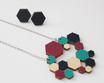 Wood hexagon necklace and earrings, sustainable necklace, eco fashion, scandi design, scandi jewellery, statement necklace, eco necklace