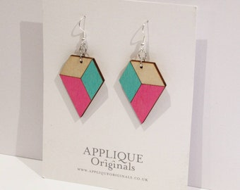 Hand painted geometric wooden statement earrings - birthday gift - winter finds - eco fashion - sustainable jewellery - sustainable fashion
